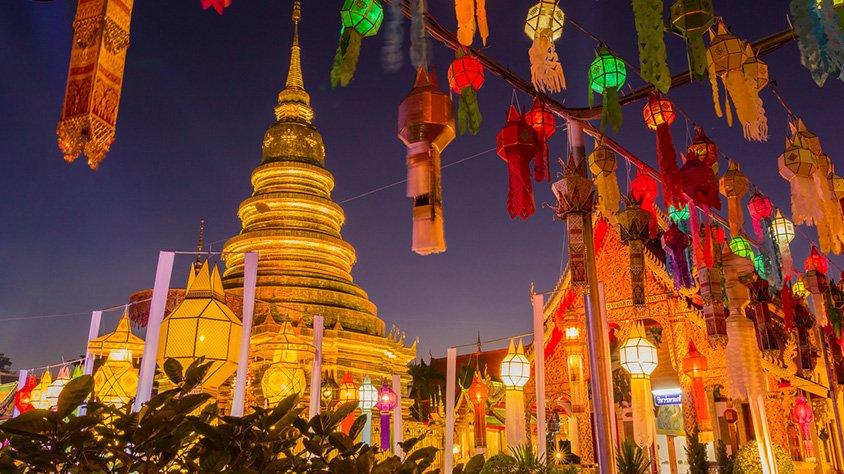 Pagoda de oro y linterna